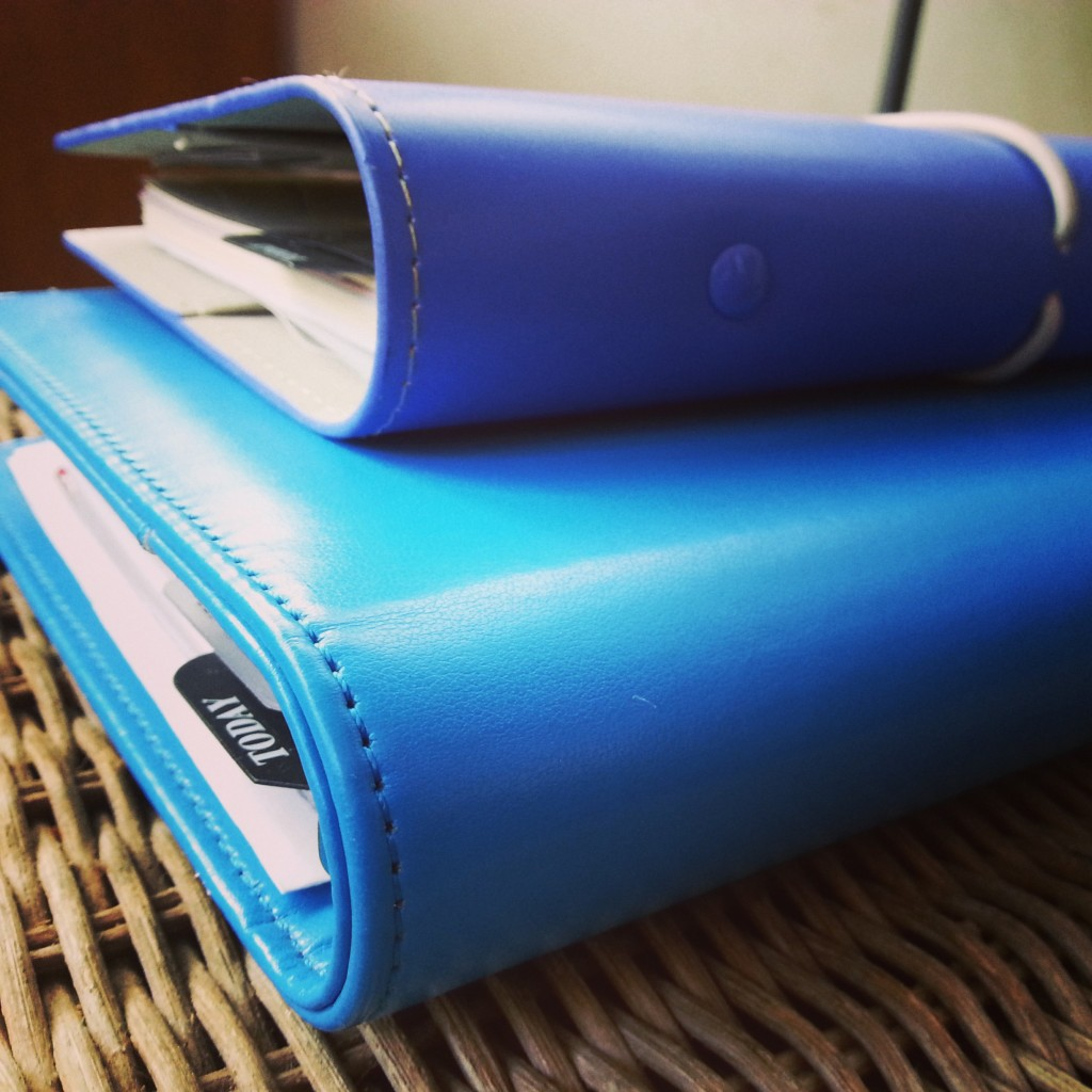 Filofax Domino Personal Electric Blue on top of Inner-B A5 Mum Organiser