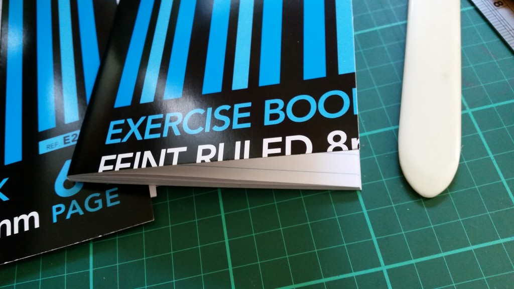 Re-sized exercise book - close-up